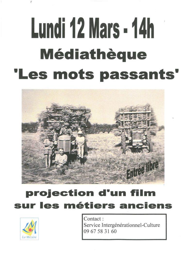 Projection d'un film sur les métiers anciens