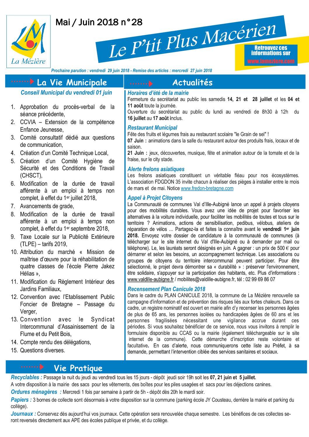 Le P'tit Plus N° 28 Mai/Juin