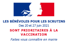 Vaccination des bénévoles aux élections des 20 et 27 juin 2021