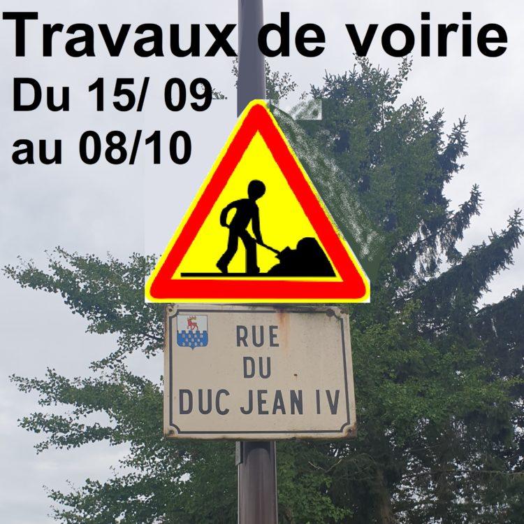 Travaux de voirie – Rue du Duc Jean IV